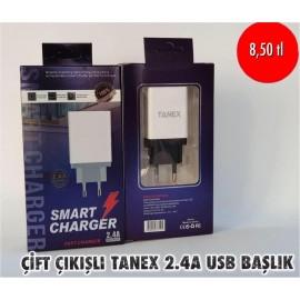 ÇİFT ÇIKIŞLI TANEX 2.4A USB BAŞLIK