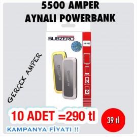 5500 AMPER AYNALI POWERBANK 10 ADET 290 TL