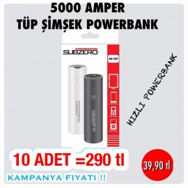 SUBZERO 5000 TÜP ŞİMŞEK POWERBANK KAMPANYASI 10 ADET 290 TL