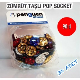 ZÜMRÜT TAŞLI POP SOCKET 30 ADET 90 TL FANUS HEDİYELİ