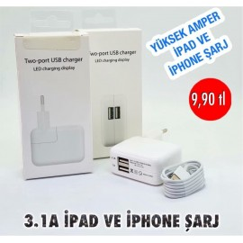 3.1A IPAD VE IPHONE ŞARJ