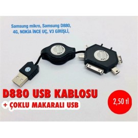 D880 USB KABLOSU+ÇOKLU MAKARALI USB