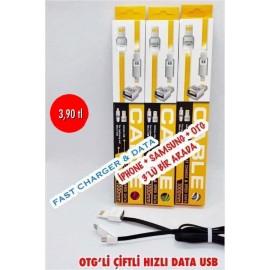 OTG'Lİ ÇİFTLİ HIZLI DATA USB