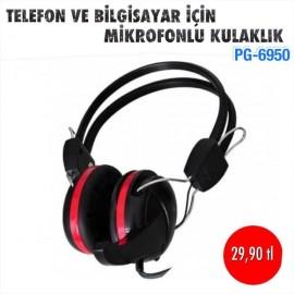 TELEFON VE BİLGİSAYAR İÇİN MİKROFONLU KULAKLIK PG-6950