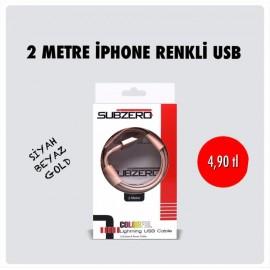 2 METRE IPHONE RENKLİ USB