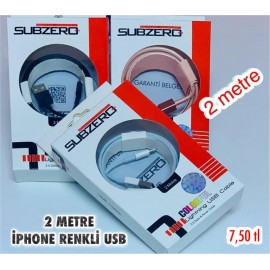 2 METRE IPHONE RENKLİ USB SUBZERO