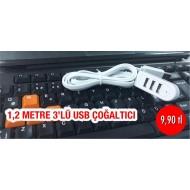 1,2 METRE 3'LÜ USB ÇOĞALTICI