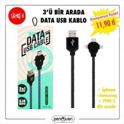 3'Ü BİR ARADA DATA USB KABLO