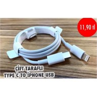 ÇİFT TARAFLI TYPE C TO İPHONE  USB