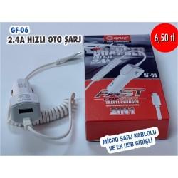 GF-06 2.4A HIZLI OTO ŞARJ
