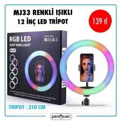 MJ33 RENKLİ IŞIKLI 12 İNÇ LED TRİPOT