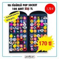 9D FİGÜRLÜ POP SOCKET 100 ADET STANDLI