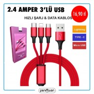 2.4 AMPER 3'LÜ USB