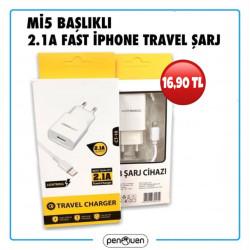 Mİ5 BAŞLIKLI 2.1A FAST İPHONE TRAVEL ŞARJ