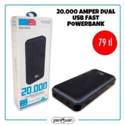 20000 AMPER DUAL USB FAST POWERBANK
