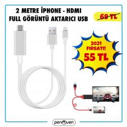 2 METRE İPHONE-HDMI FULL GÖRÜNTÜ AKTARICI USB-2021 FIRSATLARI