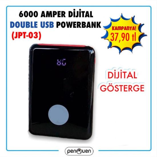 JPT-03 6000 AMPER DİJİTAL DOUBLE USB POWERBANK