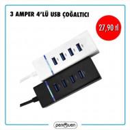 3 AMPER 4'LÜ USB ÇOĞALTICI