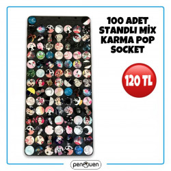 100 ADET STANDLI MİX KARMA POP SOCKET