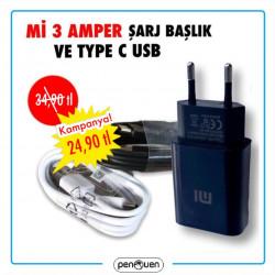 Mİ 3 AMPER ŞARJ BAŞLIK VE TYPE C USB