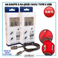 AA KALİTE 2.4A ÇELİK YAYLI TYPE C USB