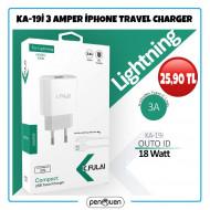 KA-19İ 3 AMPER İPHONE TRAVEL CHARGER