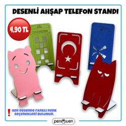 DESENLİ AHŞAP TELEFON STANDI