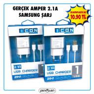 GERÇEK AMPER 2.1A SAMSUNG ŞARJ