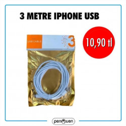 3 METRE İPHONE USB