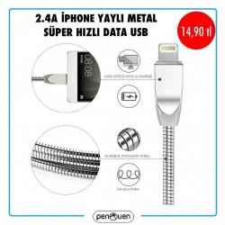 2.4A İPHONE YAYLI METAL SÜPER HIZLI DASTA USB