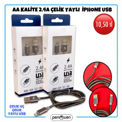 AA KALİTE 2.4A ÇELİK YAYLI İPHONE USB