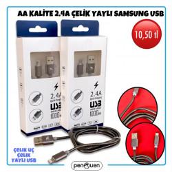 AA KALİTE 2.4A ÇELİK YAYLI SAMSUNG USB