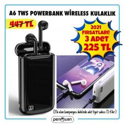 A6 TWS POWERBANK KULAKLIK 3 ADET 225 TL