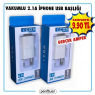 VAKUMLU 2.1A İPHONE USB BAŞLIK