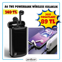 A6 TWS POWERBANK WİRELESS KULAKLIK-2021 FIRSATLARI
