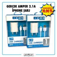 GERÇEK AMPER 2.1A İPHONE ŞARJ