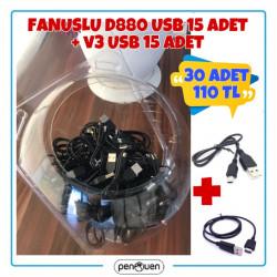 FANUSLU 15 ADET D880 USB VE 15 ADET V3 USB