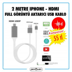 2 METRE İPHONE-HDMI FULL GÖRÜNTÜ AKTARICI USB-2021 FIRSATLARI
