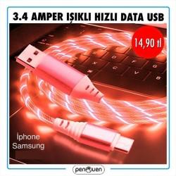 3.4 AMPER IŞIKLI HIZLI DATA USB