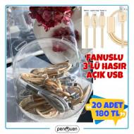FANUSLU 3'LÜ HASIR AÇIK USB 20 ADET