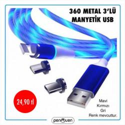 360 METAL 3'LÜ MANYETİK USB
