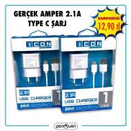 GERÇEK AMPER 2.1A TYPE C ŞARJ
