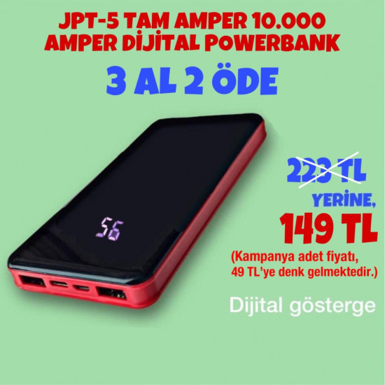 3 AL 2 ÖDE JPT-5 TAM AMPER 10.000 AMPER DİJİTAL POWERBANK 149 TL