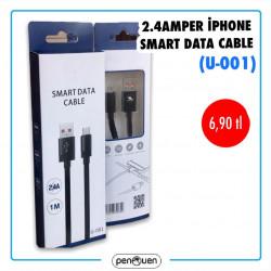 U-001 2.4 AMPER İPHONE SMART DATA CABLE