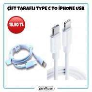 ÇİFT TARAFLI TYPE C TO İPHONE USB