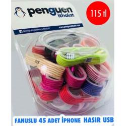 FANUSLU 45 ADET İPHONE HASIRLI USB