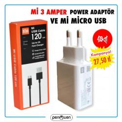 Mİ 3 AMPER POWER ADAPTÖR VE Mİ MİCRO USB