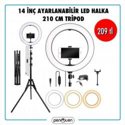 14 İNÇ AYARLANABİLİR LED HALKA VE 210 CM TRİPOD