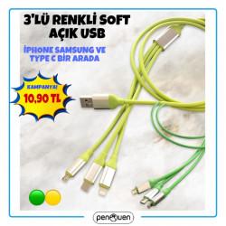 3'LÜ RENKLİ SOFT AÇIK USB
