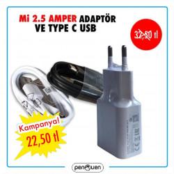Mİ 2.5 AMPER ADAPTÖR VE TYPE C USB